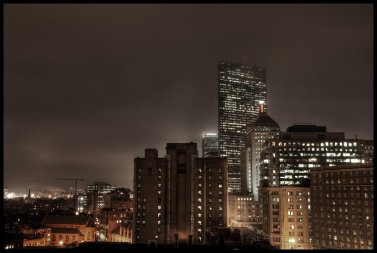 Boston in the fog